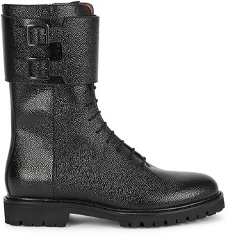 LEGRES Black glossed leather ankle boots