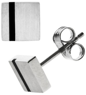 Sutton by Rhona Sutton Sutton Stainless Steel Black Striped Square Stud Earrings