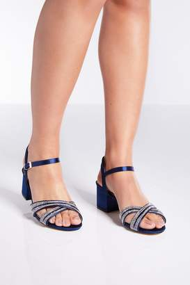 Quiz Navy Satin Diamante Low Heels
