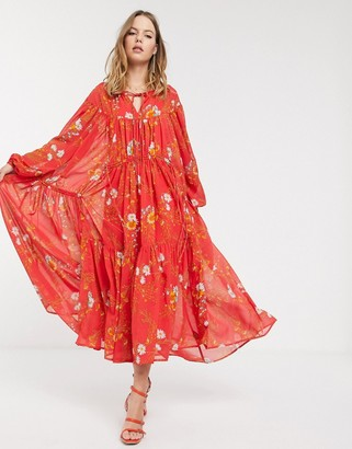 ASOS DESIGN Eivissa soft tiered maxi dress with drawstring details in floral print