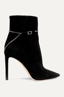 Jimmy Choo Leille 100 Crystal-embellished Suede Ankle Boots - Black