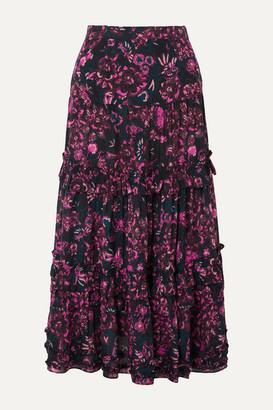 Ulla Johnson Amalia Tiered Floral-print Cotton-blend Voile Midi Skirt - Dark purple