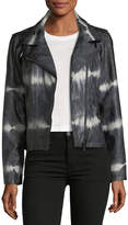 Brandon Thomas Tie-Dye Faux-Leather Moto Jacket
