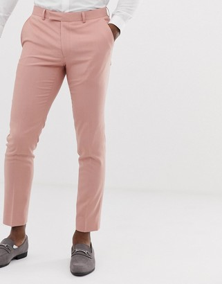 Moss Bros slim suit trouser in dusty pink