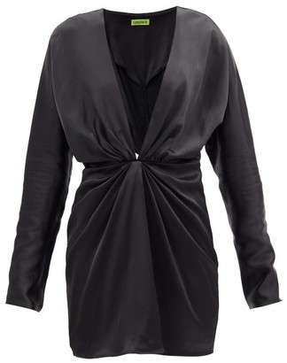 GAUGE81 Shibu V-neck Satin Mini Dress - Black