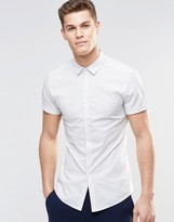Asos Skinny Shirt In Micro Stripe With Short Sleeves