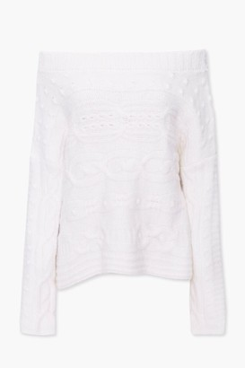 Forever 21 Cable Knit Off-the-Shoulder Sweater