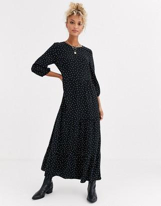 New Look tiered midaxi smock dress in polka dot-Black