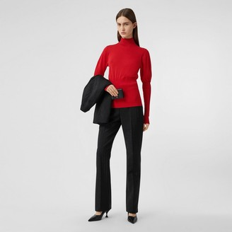 Burberry Puff-sleeve Knit Cotton Blend Turtleneck Sweater