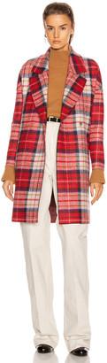 Harris Wharf London Oversize Tartan Coat in Red | FWRD