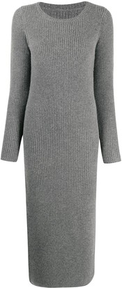 Yves Salomon Ribbed-Knit Midi Dress