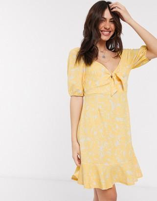 Monki Mayan printed mini dress in yellow