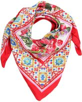 Dolce & Gabbana Flower Printed Silk Twill Square Scarf