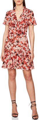 Reiss Marseille Floral Ruffle Detail Dress