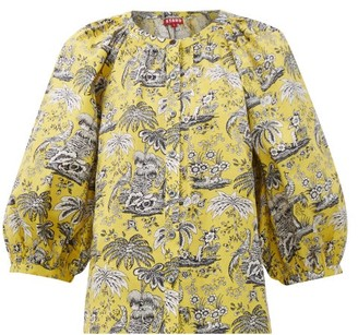 STAUD Dill Tropical-print Cotton-blend Blouse - Womens - Yellow