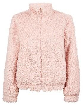 Dorothy Perkins Womens Blush Short Teddy Zip Coat