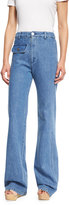 See by Chloe Stretch Denim High-Rise Flare Jeans, Washed Indigo