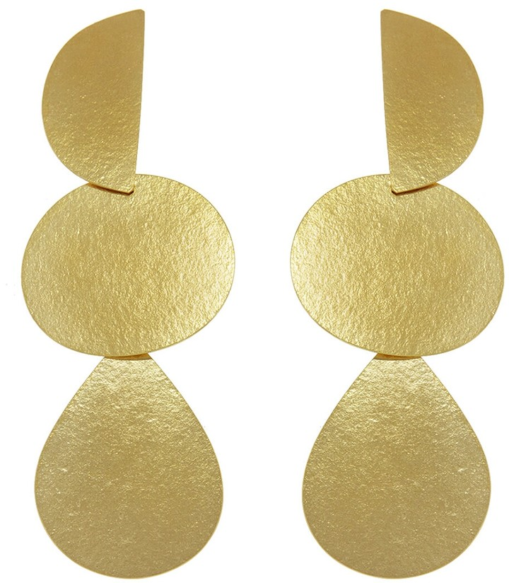 Annie Costello Brown Mattea Earrings - Yellow Gold
