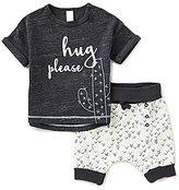 Petit Lem Baby Boys 3-24 Months Hug Please Shirt & Printed Shorts Set