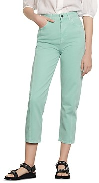 Sandro Micky Cropped Straight-Leg Jeans in Mint