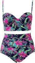 Qiaoer Womens Plus Size Vintage Push up Halter High Waisted Bikini Swimsuit Set (XL, )