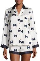 Kate Spade Bow Tie Short Pajama Set, Cream