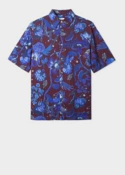 Men's Tailored-Fit Damson 'Beetle Botanical' Short-Sleeve Shirt