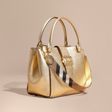 Burberry The Medium Buckle Tote in Metallic Leather