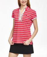 U.S. Polo Assn. Women's Polo Shirts CRZA - Red & White Stripe Lace-Up Polo - Women