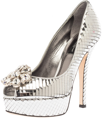 Dolce & Gabbana Metallic Silver Patent Leather Platform Bette Crystal Embellished Peep Toe Pumps Size 37