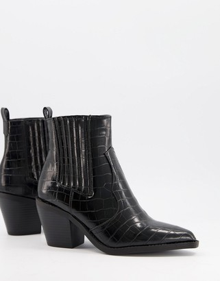 Glamorous Western boots in black croc