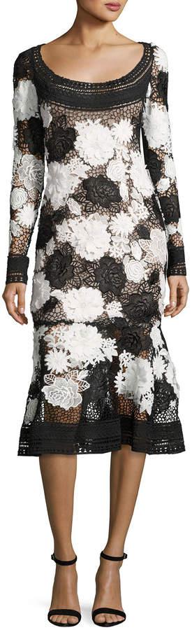 Naeem Khan Two-Tone Floral Guipure Lace Flounce Dress, Black/White