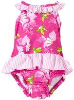 I Play One-piece Ruffle Swimsuit (Baby/Toddler) - Fuchsia Hummingbird - 9-12 Months