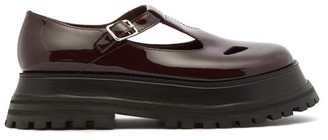 Burberry Aldwych Patent-leather T-bar Flats - Burgundy
