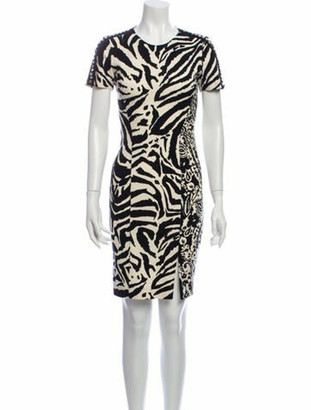 Blumarine Animal Print Knee-Length Dress Black