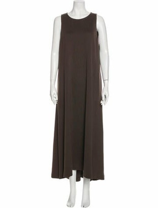 St. John Scoop Neck Long Dress Brown