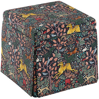 One Kings Lane Anne Skirted Storage Ottoman - Navy Frolic Linen