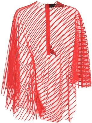 Paula Knorr Velvet Striped Asymmetric Top