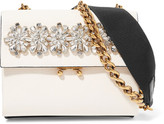 Marni Two-tone Crystal-embellished Leather Shoulder Bag - Black
