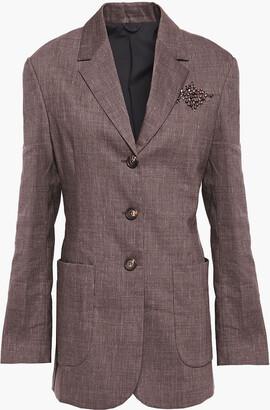 Brunello Cucinelli Embellished Melange Linen-blend Blazer