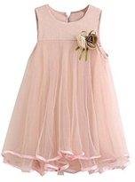 Gift!! Toddler Girl Chiffon Dresses Sleeveless Drape Dress + Brooch (3T, Pink)