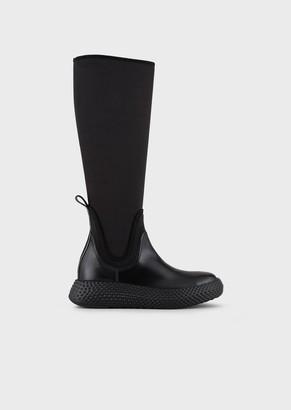 Emporio Armani Scuba-Fabric Boots With Knurled Soles