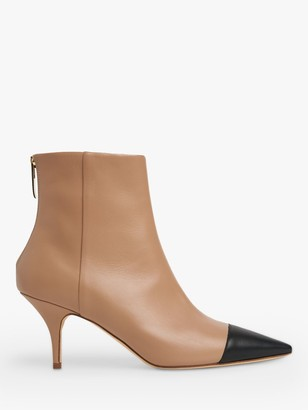 LK Bennett Athena Leather Ankle Boots, Camel/Black