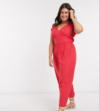 Asos DESIGN Curve sleeveless tea jumpsuit in spot print
