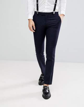 Noose & Monkey Super Skinny Trouser With Stars-Navy