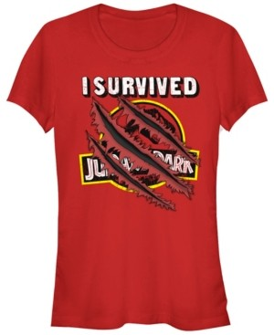 Fifth Sun Jurassic Park Women's I Survived Claw Marks on Logo Short Sleeve Tee Shirt