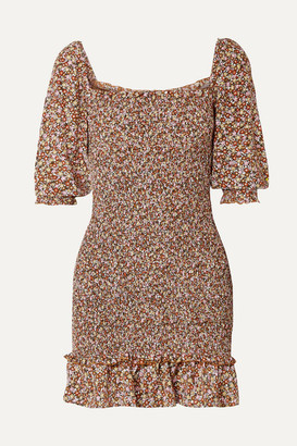 Faithfull The Brand Es Saada Smocked Ruffled Printed Crepe Mini Dress - Brown
