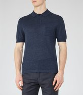Reiss Gordon - Wool And Linen Polo Shirt in Blue, Mens