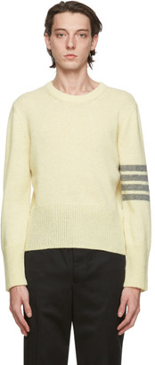 Thom Browne White Wool Jersey Knit 4-Bar Sweater