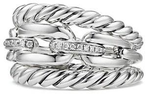 David Yurman Wellesley Link Three-Row Ring with Diamonds